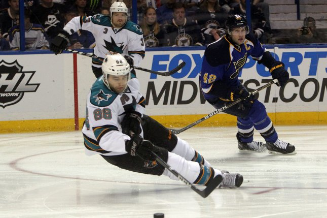 San Jose Sharks' Brent Burns. UPI/Bill Greenblatt