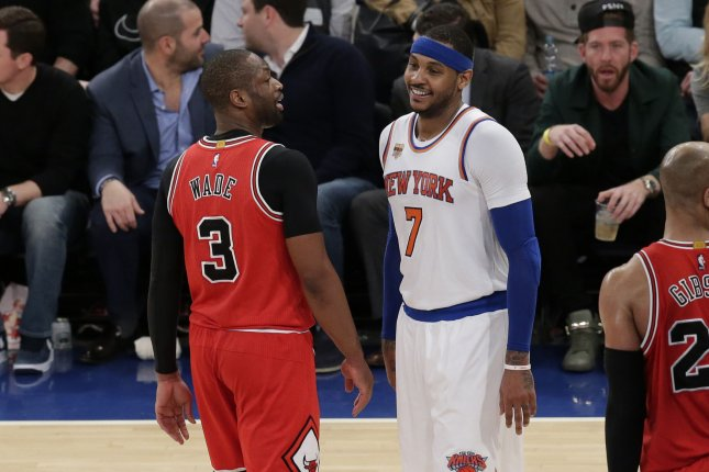 341633024713 New York Knicks Carmelo Anthony and Chicago Bulls Dwyane Wade smile on the  court in the second half at Madison Square Garden in New York City on  January 12