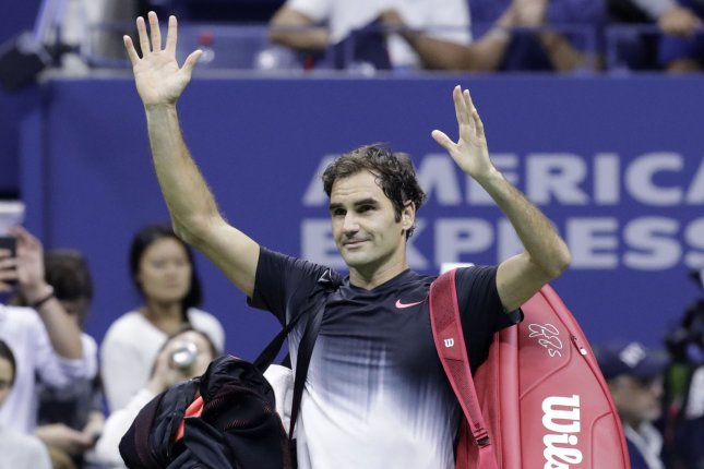 Roger Federer of Switzerland waves as he walks off the court after his match against Juan Martin del Potro of Argentina in the quarter-finals at the 2017 US Open Tennis Championships at the USTA Billie Jean King National Tennis Center in New York City on September 6, 2017. File photo by John Angelillo/UPI