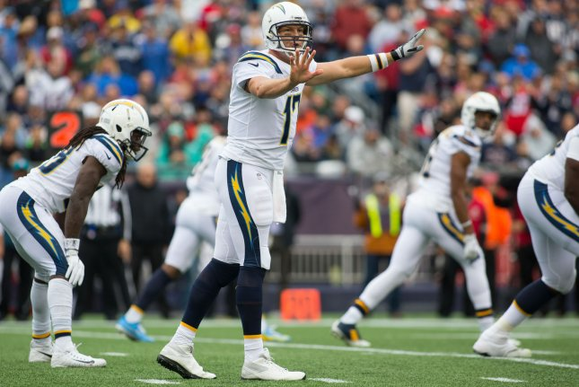 Los Angeles Chargers quarterback Philip Rivers (17) gives an audible on the line of scrimmage against the New England Patriots in the second quarter on October 29, 2017 at Gillette Stadium in Foxborough, Massachusetts. File photo by Matthew Healey/UPI