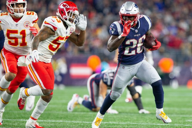 c77b91b4 New England Patriots running back Sony Michel (26) is chased by Kansas City  Chiefs linebacker Anthony Hitchens (53) on a carry in the third quarter on  ...