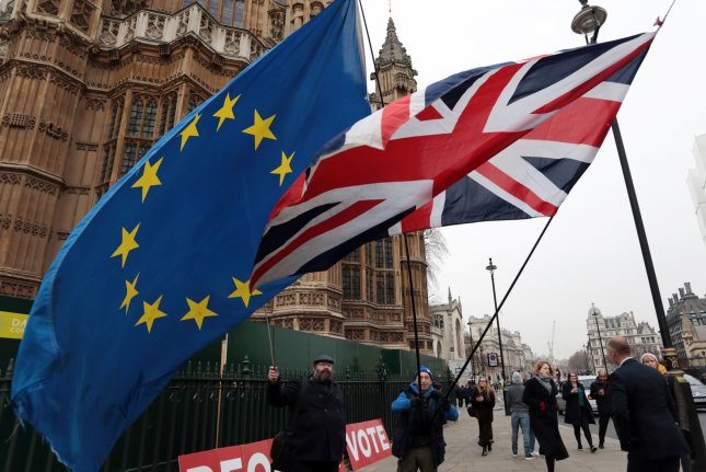 Brexit protesters demonstrate outside Britain's Houses of Parliament in London on January 10. Photo by Hugo Philpott/UPI