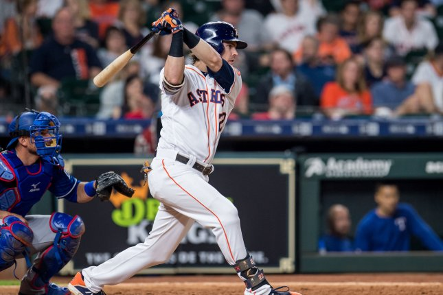 Astros outfielder Josh Reddick is hitting .324 this season. File Photo by Trask Smith/UPI