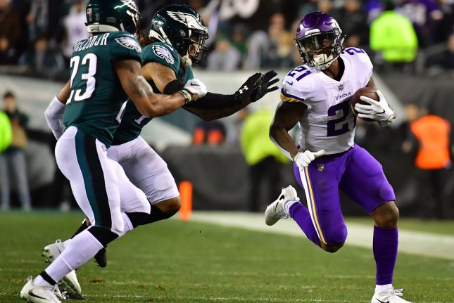 Former Minnesota Vikings running back Jerick McKinnon (21) has yet to see the field since joining the San Francisco 49ers last off-season. He sustained a torn ACL on Sept. 1, 2018. File Photo by Kevin Dietsch/UPI