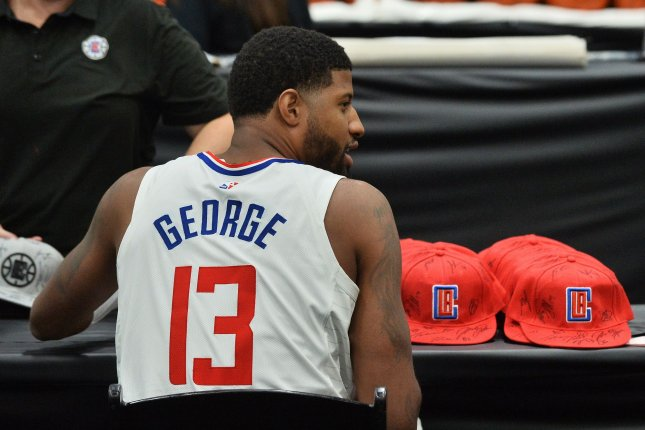 Los Angeles Clippers star Paul George has missed 10 games this season following off-season shoulder surgeries. File Photo by Jim Ruymen/UPI
