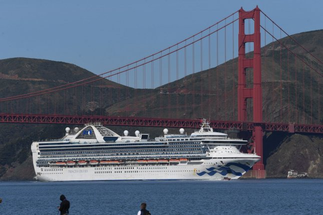The Grand Princess cruise ship carrying 2,421 passengers and 1,113 crew members including 21 people diagnosed with COVID-19 docked in Oakland on Monday. Photo by Terry Schmitt/UPI
