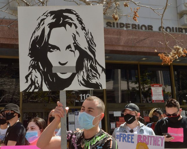 Britney Spears' fans protest outside a conservatorship court hearing at Los Angeles Superior Court in Los Angeles on March 17, 2021. Photo by Jim Ruymen/UPI