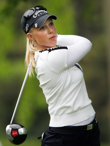 Morgan Pressel, shown at the Sybase Classic in New Jersey May 18, 2008. (UPI Photo/John Angelillo)