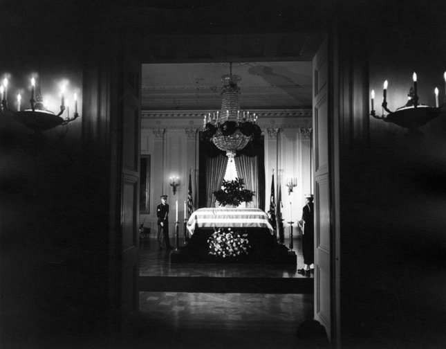 President John F. Kennedy lies in state in the East Room of the White House Nov. 23, 1963. (UPI Photo/Abbie Rowe/John F. Kennedy Presidential Library & Museum)