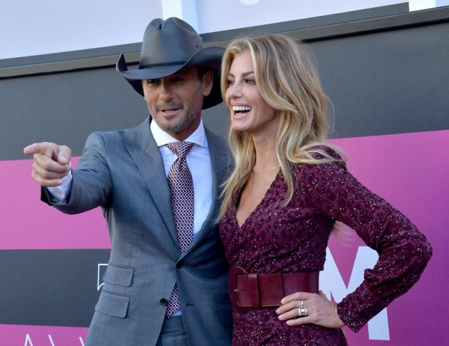 Recording artists Tim McGraw (L) and Faith Hill attend the 52nd annual Academy of Country Music Awards held at T-Mobile Arena in Las Vegas, Nevada on April 2. The couple announced their first collaborative album The Rest Of Our Life will be released on Nov. 17. File Photo by Jim Ruymen/UPI