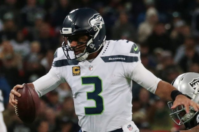 Russell Wilson and the Seattle Seahawks visit the Detroit Lions this weekend. Photo by Hugo Philpott/UPI