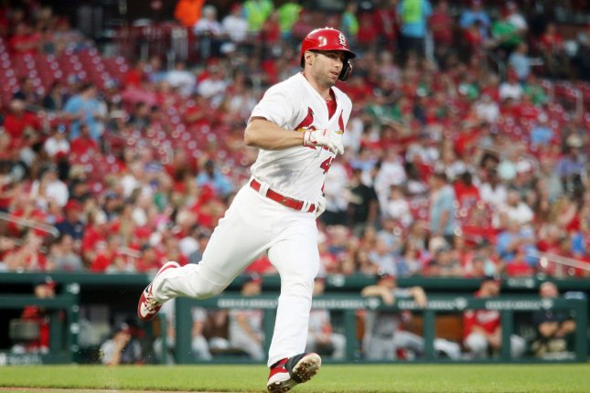 St. Louis Cardinals slugger Paul Goldschmidt blasted a solo home run in the eighth inning against the Atlanta Braves. Photo by Bill Greenblatt/UPI