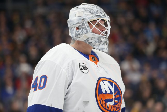 Former New York Islanders goaltender Robin Lehner signed a one-year contract with the Chicago Blackhawks last off-season. File Photo by Bill Greenblatt/UPI
