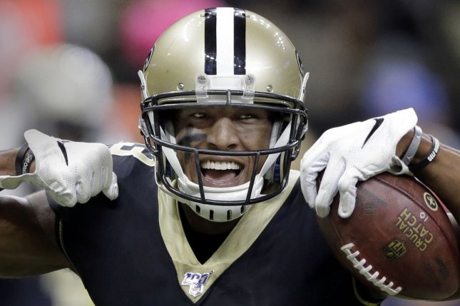 New Orleans Saints wide receiver Michael Thomas (pictured) joined Aaron Donald, Christian McCaffrey, Patrick Mahomes and Stefon Gilmore as the only NFL players to receive a 99 overall rating on Madden NFL 21. File Photo by AJ Sisco/UPI