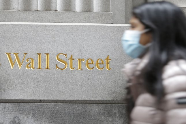 A sign for Wall Street is on a building near the New York Stock Exchange on Wall Street in New York City on Monday, where U.S. stocks plunged from COVID-19 fears. Photo by John Angelillo/UPI