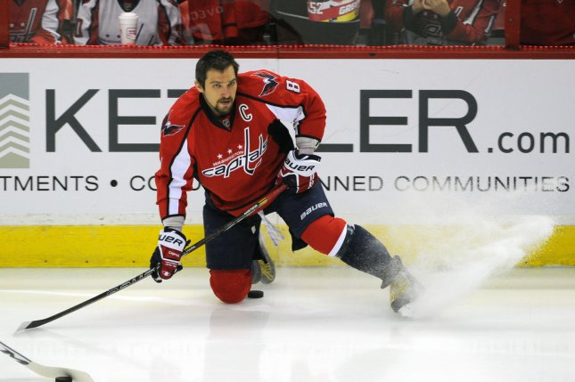 Washington Capitals left wing Alex Ovechkin (8) warms up prior to the game against the New York Rangers at the Verizon Center in Washington in May. Ovechkin was voted to both the first and second NHL All-Star teams, it was announced Wednesday. UPI/Mark Goldman
