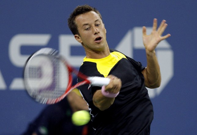 Philipp Kohlschreiber, shown at the 2012 U.S. Open, posted a second-round win in three-set Thursday at the Moselle Open in France. UPI/John Angelillo