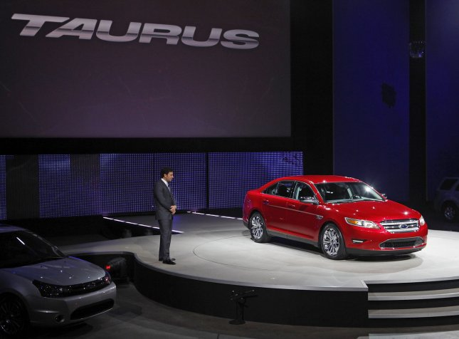 Mark Fields, executive vice president and president, the Americas, Ford Motor Company, introduces the redesigned 2010 Ford Taurus at the North American International Auto Show at the Cobo Center on January 11, 2009 in Detroit, Michigan. (UPI Photo/Brian Kersey)