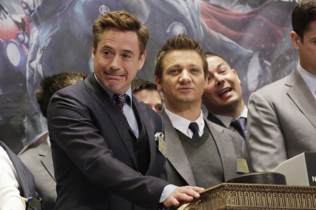 Avengers: Age of Ultron stars Robert Downey, Jr. and Jeremy Renner at the New York Stock Exchange April 27, 2015. Photo by John Angelillo/UPI