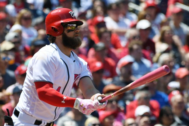 Washington Nationals Bryce Harper watches the ball sail over the fence as he hits a home run with a pink bat on Mother's Day in the first inning against the Philadelphia Phillies at Nationals Park in Washington, DC on March 14, 2017. Photo by Pat Benic/UPI