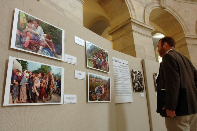 The photo exhibit Srebrenica, remembrance for the future, was on display in the Russell Senate Office Building in Washington in 2005. An appeals court in The Hague upheld a civil complaint on Tuesday, charging Dutch troops, working as United Nations peacekeepers in the war, partially liable for the deaths of about 300 Muslim Serbs. UPI File Photo