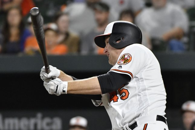 Baltimore Orioles designated hitter Mark Trumbo hits a game-winning single that scored Adam Jones to defeat the Pittsburgh Pirates on June 6, 2017 at Camden Yards in Baltimore. Photo by David Tulis/UPI