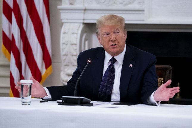 President Donald Trump on Monday denounced calls to defund police in the United States during a round table with law enforcement officials. Photo by Doug Mills/UPI