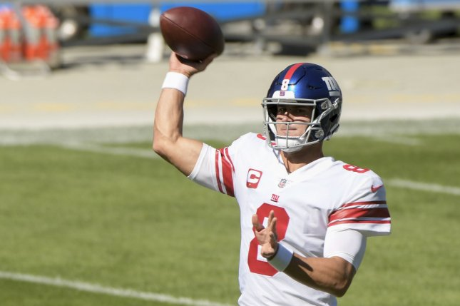 New York Giants quarterback Daniel Jones should be dropped this week in fantasy football leagues. File Photo by Mark Black/UPI