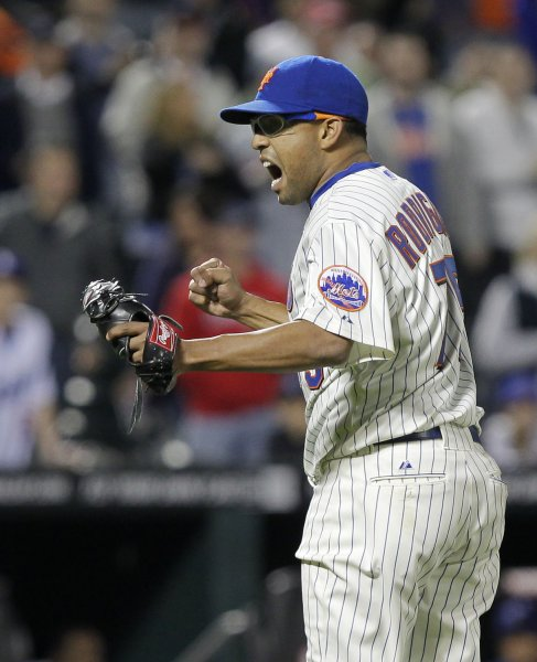 New York Mets closer Francisco Rodriguez reacts after striking out the final batter in the ninth inning against the Los Angeles Dodgers at Citi Field in New York City on May 7, 2011. The Mets defeated the Dodgers 4-2. UPI/John Angelillo