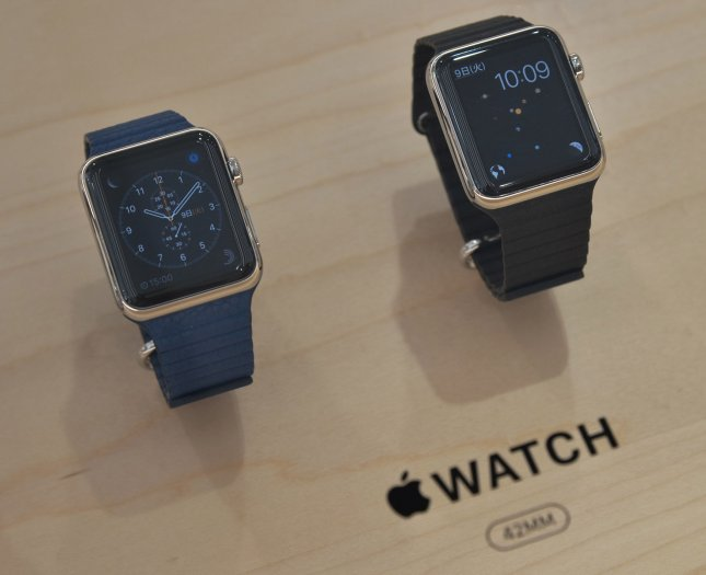 Apple Watches are displayed at an Omotesando store of Softbank Mobile Co. in Tokyo, Japan, on April 24, 2015. Photo by Keizo Mori/UPI