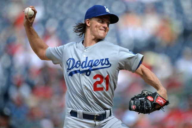 Los Angeles Dodgers pitcher Zack Greinke. Photo by Kevin Dietsch/UPI