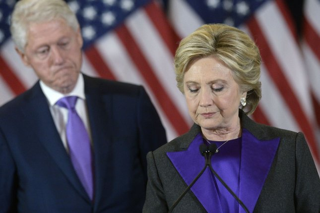 Hillary Clinton, seen here delivering her concession speech in New York City on Nov. 9, has 1 million more votes than Donald Trump in the national popular vote, but loses in the Electoral College. Pool photo by Olivier Douliery/UPI