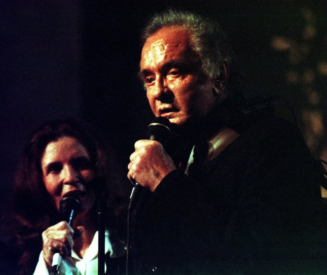 On Jan. 13, 1968, Johnny Cash, seen here with June Carter Cash in 1999, recorded his infamous At Folsom Prison live record. File Ezio Petersen/UPI