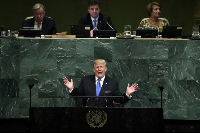 President Donald Trump speaks at the United Nations General Assembly in New York City on Tuesday. Photo by Jason Szenes/UPI
