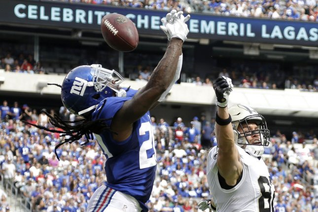 New York Giants Janoris Jenkins breaks up a pass intended for New Orleans Saints Coby Fleener in week 2 of the NFL at MetLife Stadium in East Rutherford, New Jersey on September 18, 2016. File photo by John Angelillo/UPI