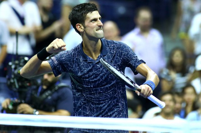 Novak Djokovic of Serbia celebrates after defeating John Millman of Australia in three straight sets of their quarter-final match in Arthur Ashe Stadium at the 2018 US Open Tennis Championships on Wednesday at the USTA Billie Jean King National Tennis Center in New York City. Photo by Monika Graff/UPI