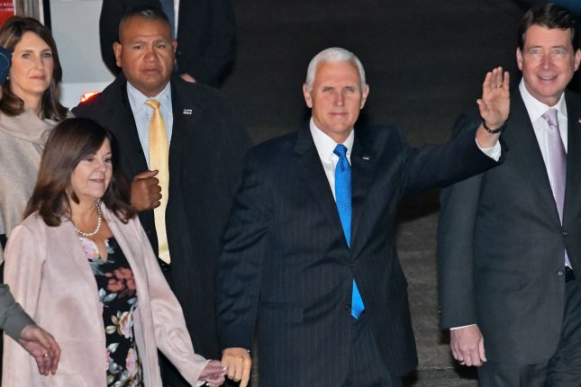 U.S. Vice President Mike Pence (C) spoke about U.S.-China relations in Papua New Guinea on Saturday. Photo by Keizo Mori/UPI