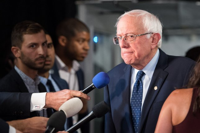 Sen. Bernie Sanders, I-VT, shown here speaking after the July Democratic debates in Detroit, unveiled his $16.3 trillion climate change plan Thursday. Photo by Kevin Dietsch/UPI