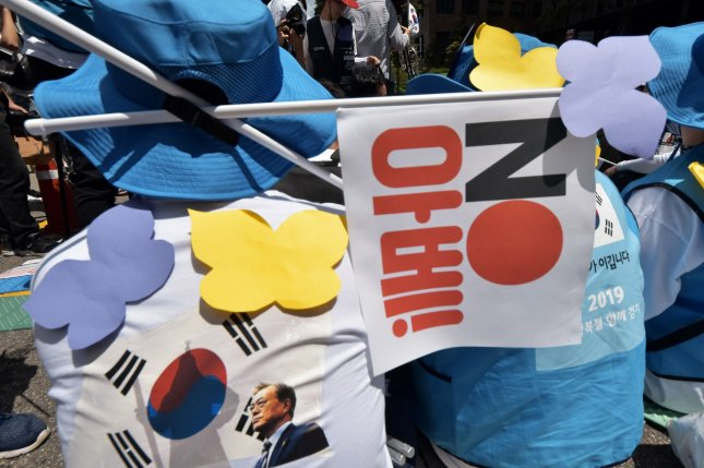 South Koreans protested Japanese trade restrictions that experts say were a response to the issue of compensation for former Korean forced laborers. File Photo by Keizo Mori/UPI
