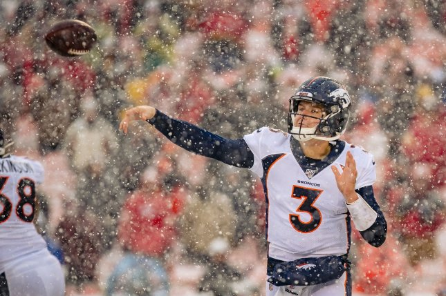 Denver Broncos quarterback Drew Lock said he wants to play well in 2020 to prove that John Elway made the right decision when he picked him in the 2019 NFL Draft. File Photo by Kyle Rivas/UPI