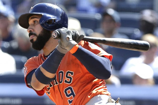 Houston Astros' Marwin Gonzalez hits the ball. File photo by John Angelillo/UPI