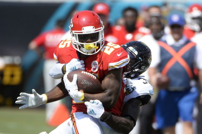 Former Kansas City Chiefs running back LeSean McCoy (L) finished with 465 cards and four touchdowns on 101 carries with the Chiefs last season. File Photo by Joe Marino/UPI