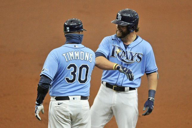 Former Tampa Bay Rays catcher Kevan Smith (R), shown Sept. 27, 2020, was designated for assignment by the Rays earlier this week. File Photo by Steven J. Nesius/UPI