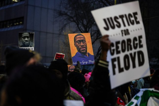 Protestors march through downtown Minneapolis as jury deliberations begin in the Derek Chauvin trial in Minneapolis, Minnesota, on Monday, April 19, 2021. File Photo by Jemal Countess/UPI