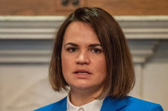 The United States committed to pressuring Belarusian President Alexander Lukashenko to cooperate in an investigation into the arrest of an exiled journalist in meetings with opposition leader Sviatlana Tsikhanouskya.Photo by Ken Cedeno/UPI