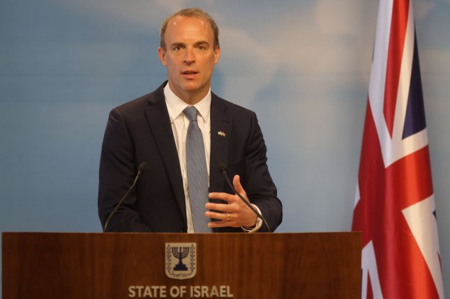 British Foreign Minister Dominic Raab said Sunday the nation has concluded it is highly likely that Iran carried out an attack on the Mercer Street tanker.FilePool Photo by Menahem Kahana/UPI