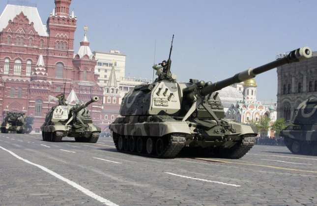 Russian army mobile artillery units drive during the Victory Day military parade in Red Square in Moscow on May 9, 2009. Russia announced on Monday it will conduct 40 large-scale military exercises in the eastern part of the country this summer, continuing a program of combat readiness. File Photo by UPI Photo/Anatoli Zhdanov.