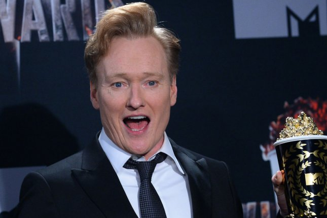 Host Conan O'Brien appears backstage at the MTV Movie Awards on April 13, 2014. File Photo by Jim Ruymen/UPI