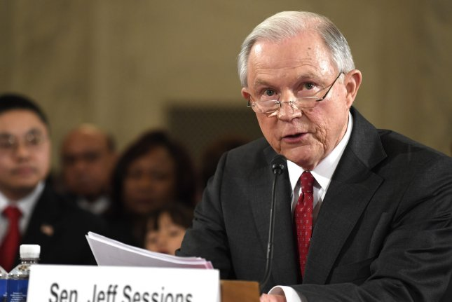 Sen. Jeff Sessions, shown here at his confirmation hearing in January, said Thursday he will remove himself from investigations into Russian interference in last fall's U.S. election. File Photo by Mike Theiler/UPI