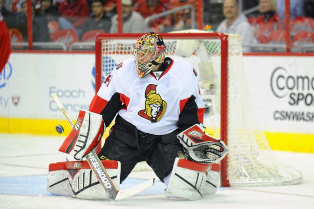 Ottawa Senators goalie Craig Anderson (41) makes a save on a shot. File photo by Mark Goldman/UPI